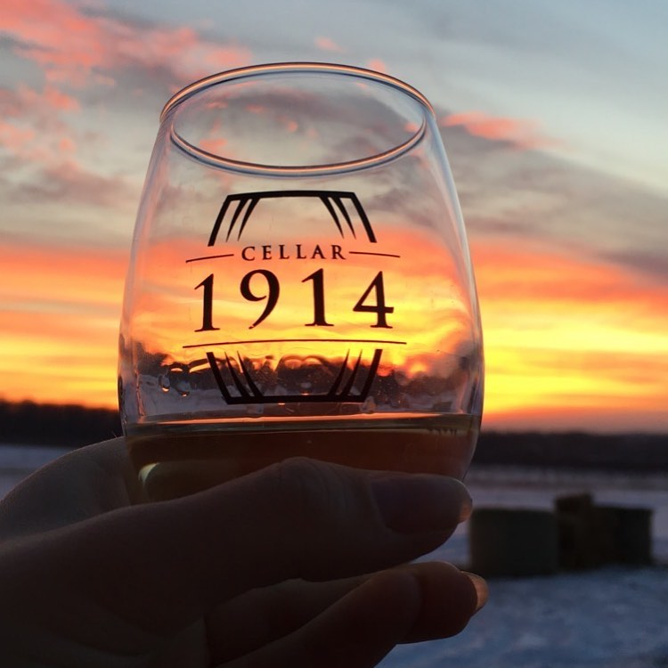 cellar 1914 wine glass with logo